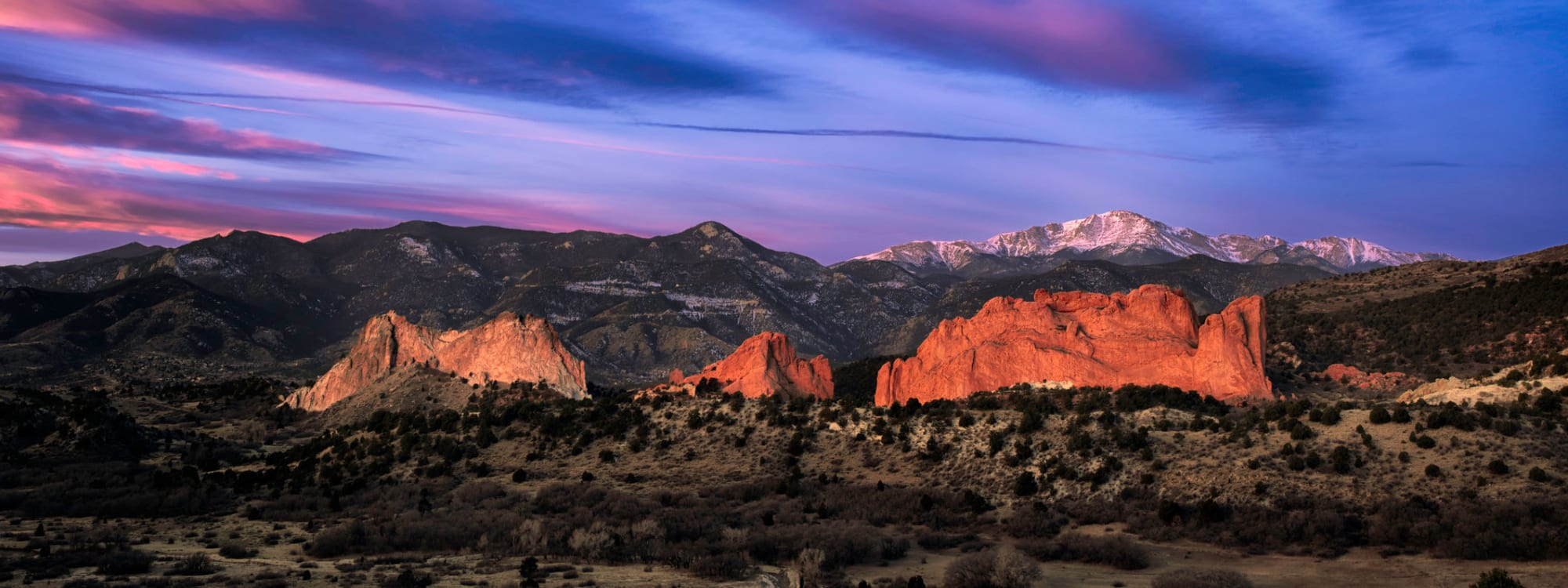 A panoramic view of Garden of the Gods near STOR-N-LOCK Self Storage in Colorado Springs, Colorado