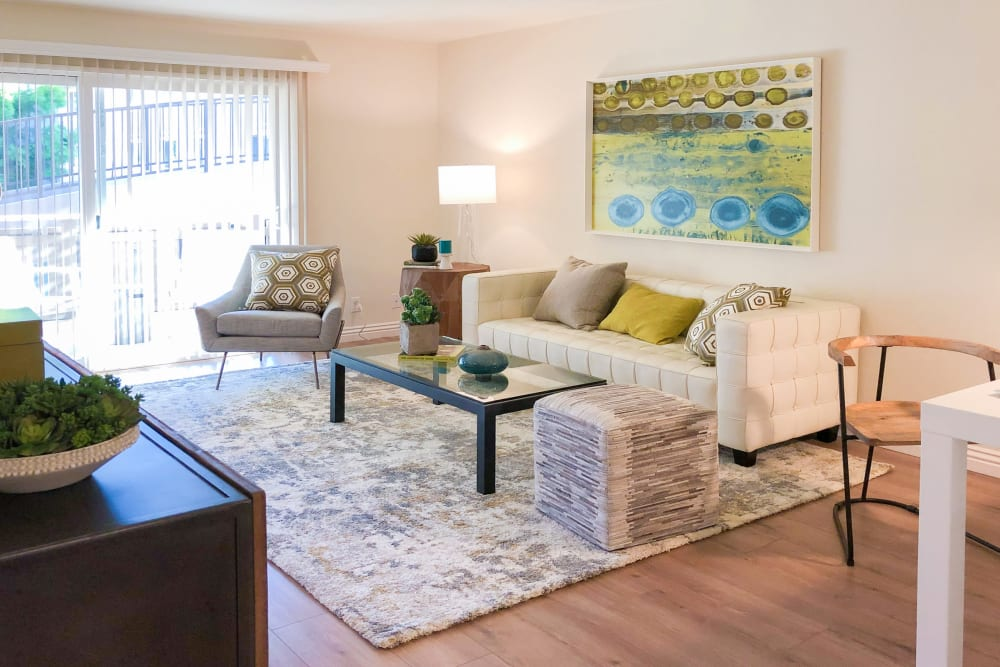 Bright, spacious living room at Greendale Apartments in Mountain View, California