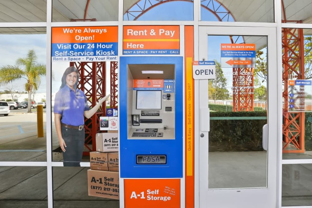 The 24-hour accessible kiosk at A-1 Self Storage in San Diego, California