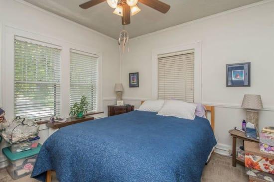Cozy bedroom at Alta Casa in Des Moines, Iowa