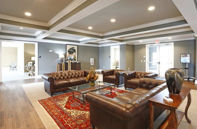 Interior of the luxuriously decorated resident clubhouse at Bonterra Apartments in Fort Wayne, Indiana