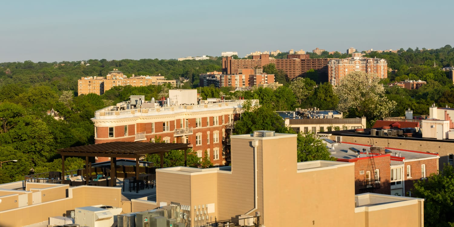 Rooftop view of the surrounding area from AdMo Heights in Washington, DC