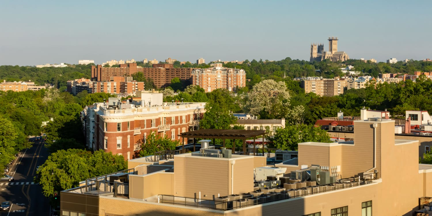 Rooftop view of Washington from AdMo Heights in DC