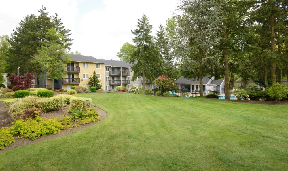 Plenty of open grass at The Boulevard at South Station Apartment Homes in Tukwila, Washington