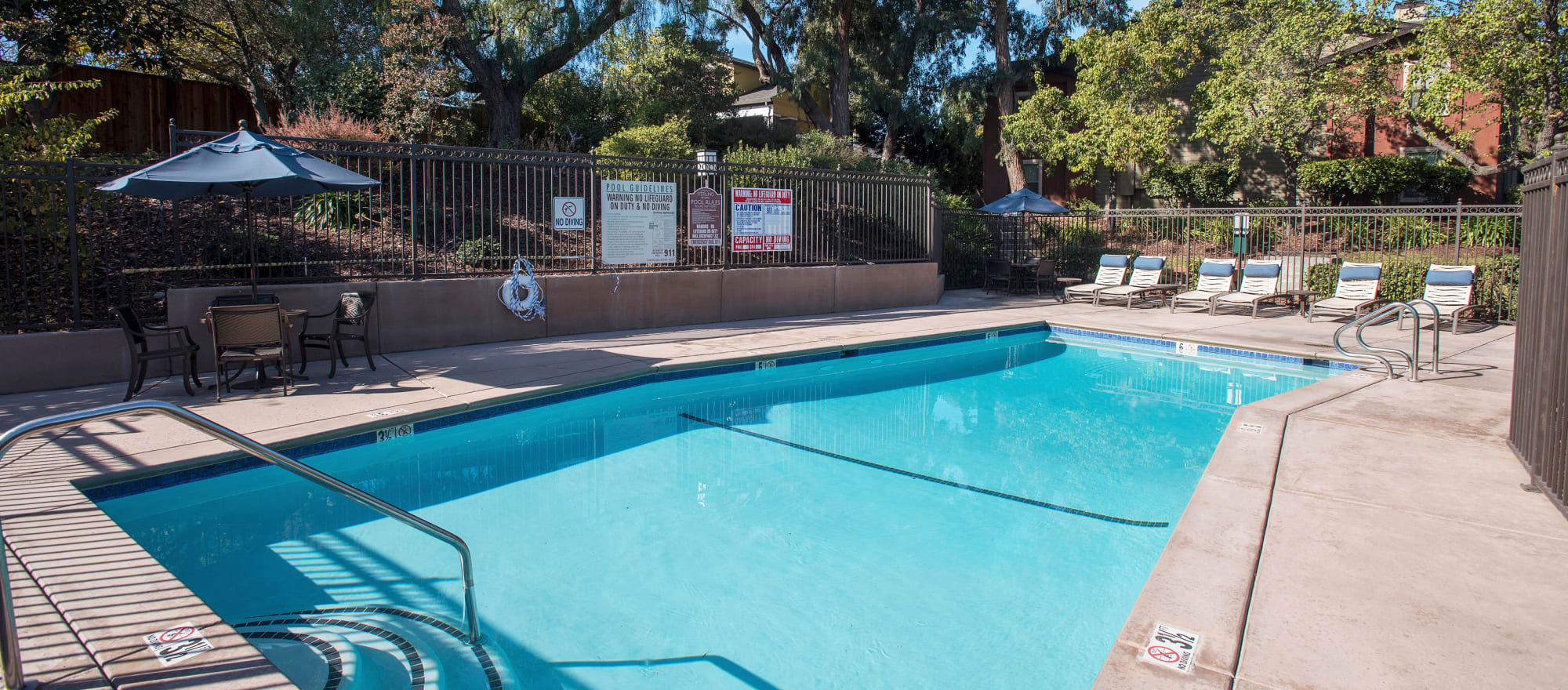 Gorgeous swimming pool at Sterling Heights Apartment Homes in Benicia, California