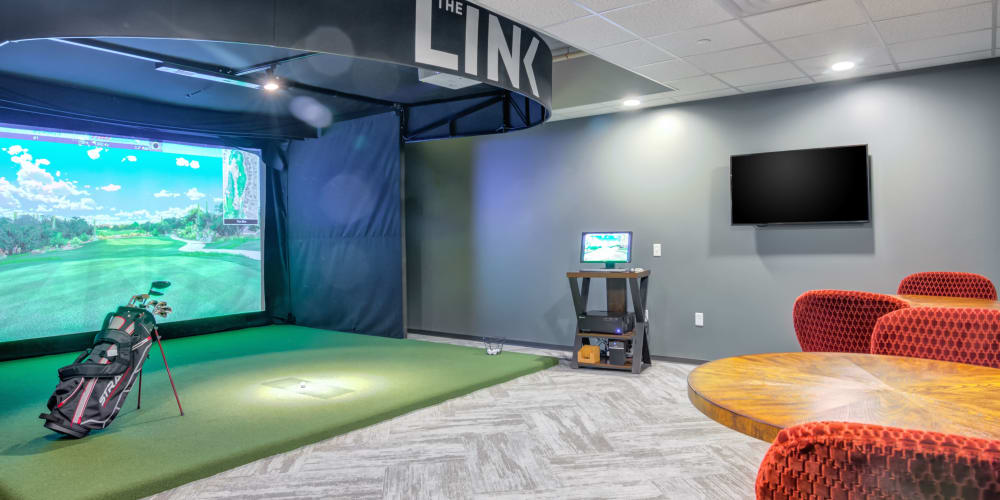 Golf simulation room at The Link Minneapolis in Minneapolis, Minnesota