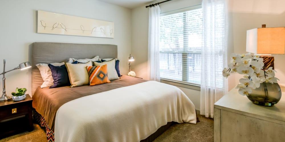 Bedroom with porch in San Antonio at Firewheel Apartments