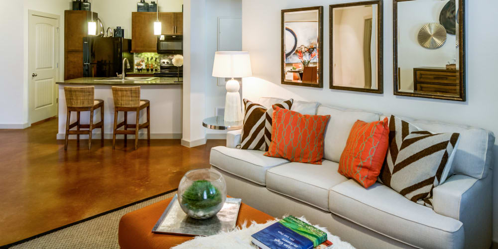 Open concept living room at Firewheel Apartments in San Antonio