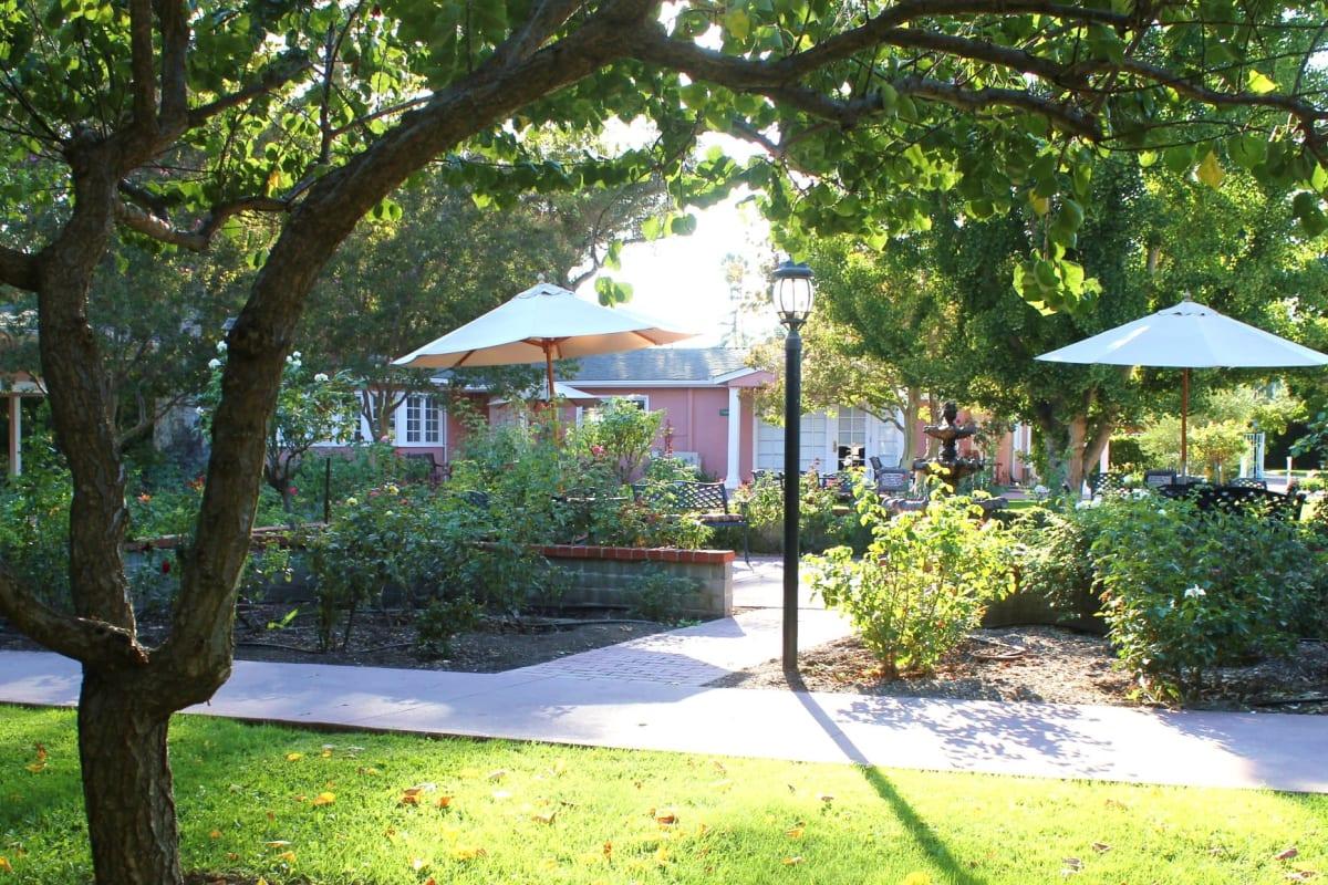 The community garden and walkway at Gables of Ojai in Ojai, California