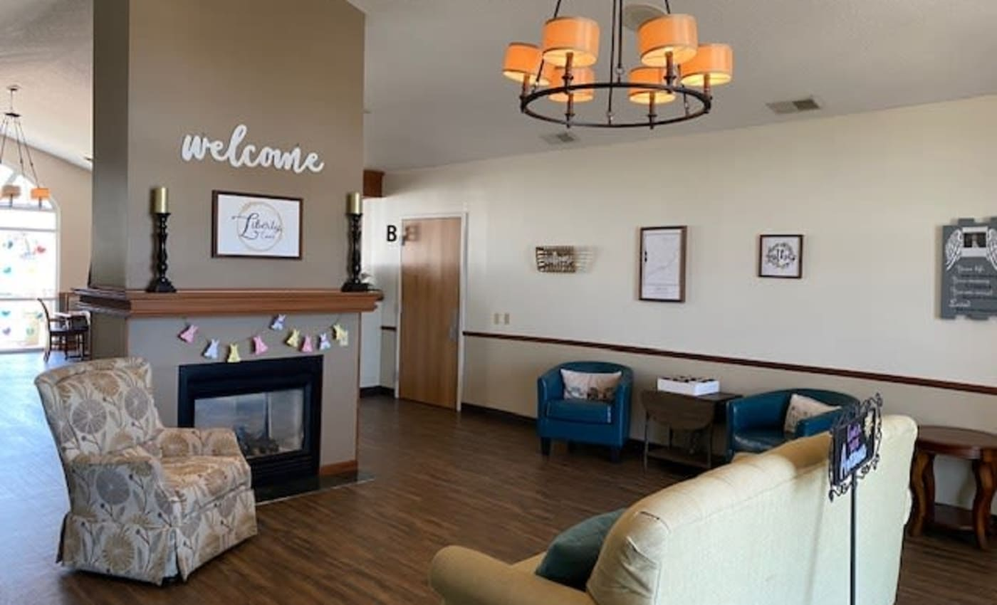 Lounge and relaxation area at Liberty Court Assisted Living & Memory Care in Dixon, Illinois.