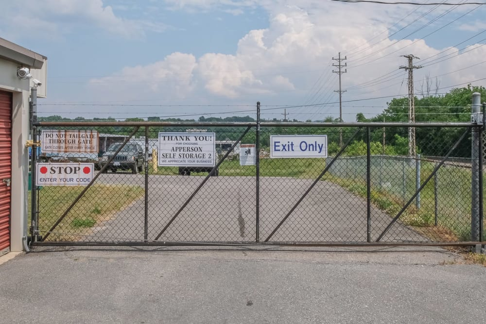 Secure gated entry at Apperson Self Storage 2 in Roanoke, Virginia
