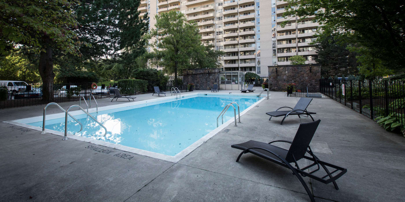 Swimming pool at Bretton Place in Toronto, Ontario