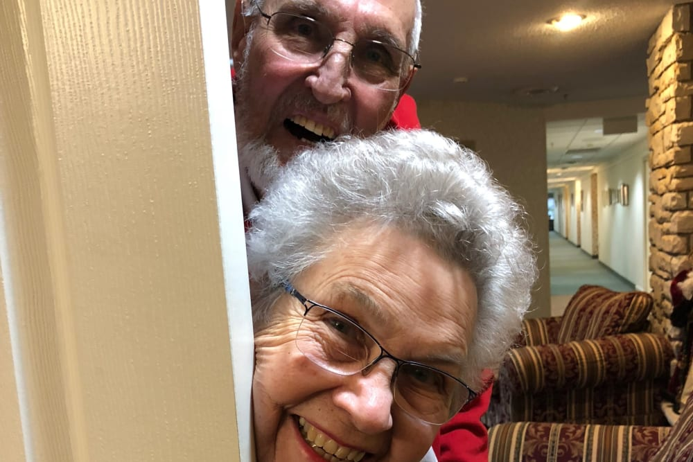 two residents smiling for a fun photo