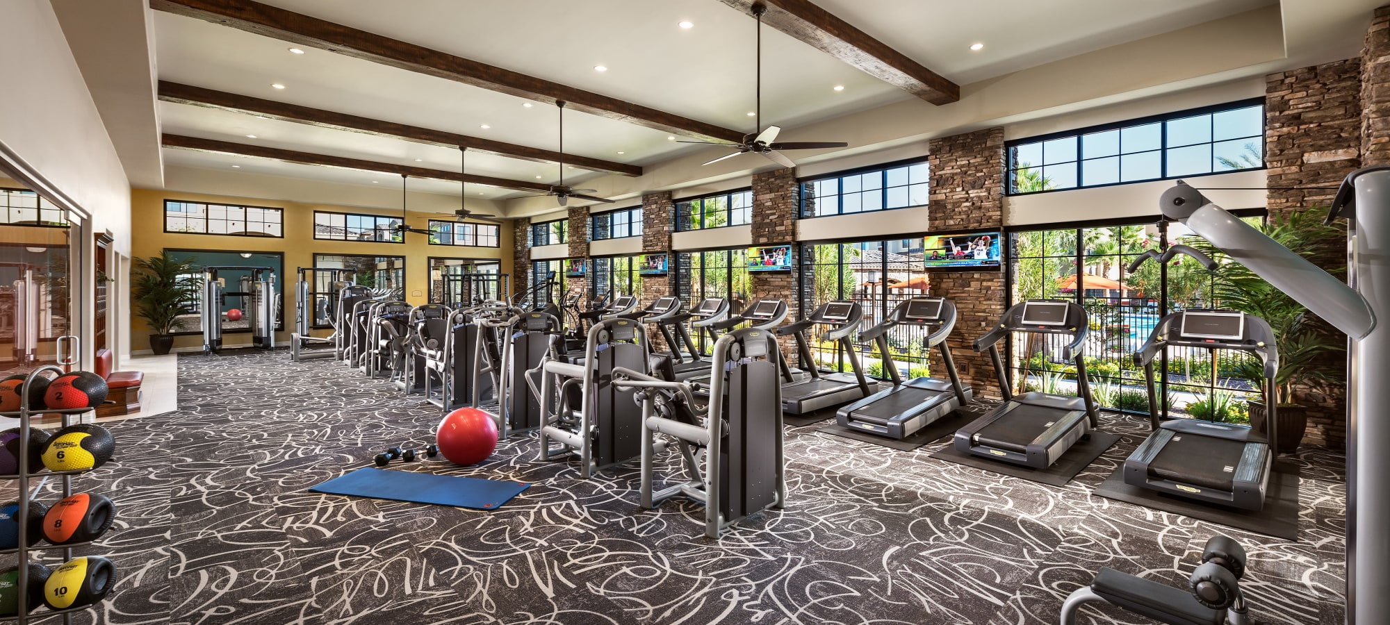 Fully equipped fitness center at San Milan in Phoenix, Arizona
