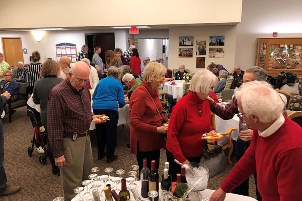 Resident food and wine event at Glenwood Place in Marshalltown, Iowa.