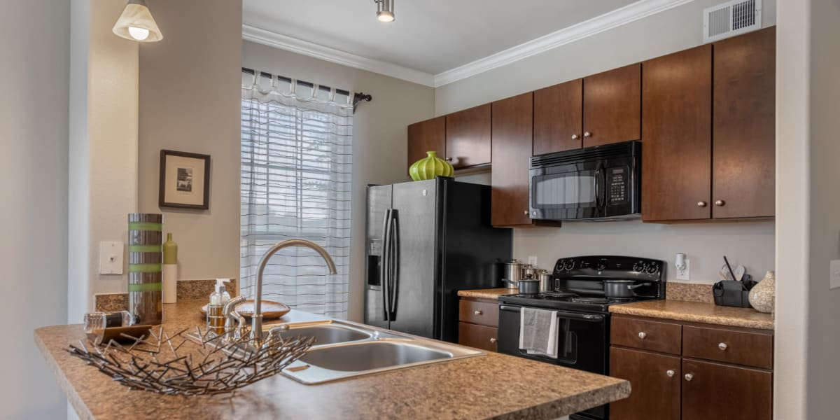 Kitchen with modern appliances and granite counters at Marquis at Sugar Land in Sugar Land, Texas