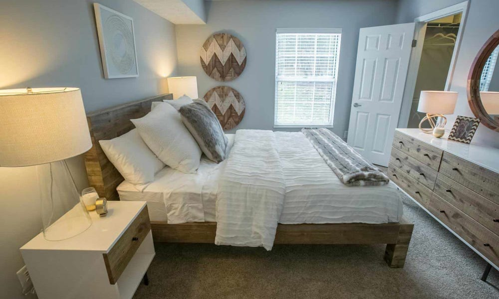 Cozy bedroom at Hunter's Chase Apartments in Westlake, Ohio