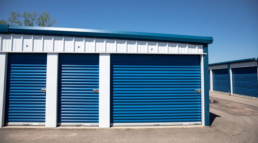 Storage units with blue doors at KO Storage of Wisconsin Dells Hwy 16 in Wisconsin Dells, Wisconsin