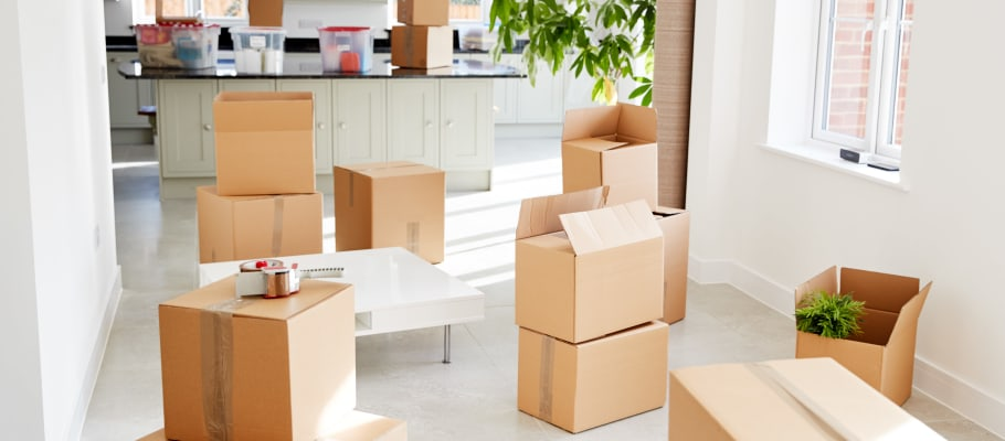 Boxes mostly-packed at a home near A-1 Self Storage in San Diego, California