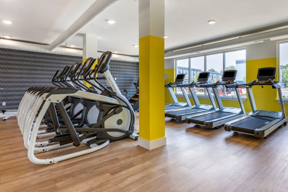Well equipped fitness center at LATITUDE on Hillsborough in Raleigh, North Carolina