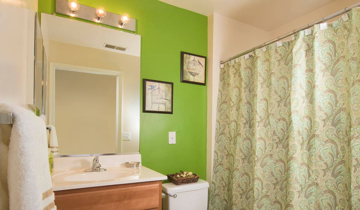 A luxury bathroom with a large vanity mirror at Park Villas Apartments in Lexington Park, Maryland