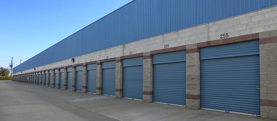 A row of drive-up storage units at A-1 Self Storage in Anaheim, California