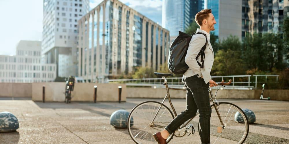 A resident walking through downtown on their way to work near Ellington Midtown in Atlanta, Georgia