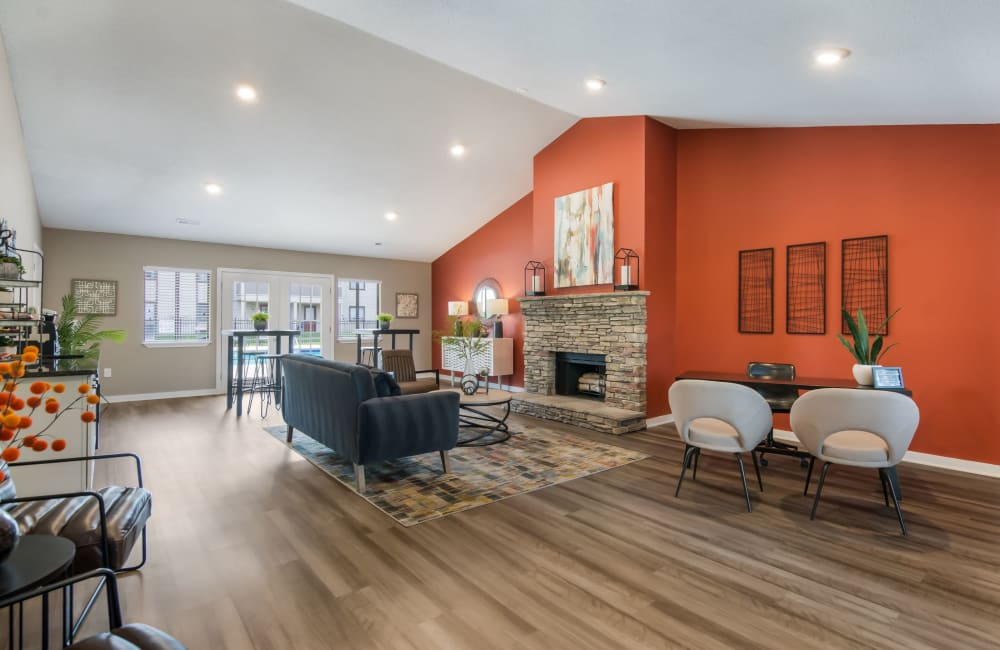 Spacious clubhouse with plenty of comfortable seating at Gable Oaks Apartment Homes in Rock Hill, South Carolina
