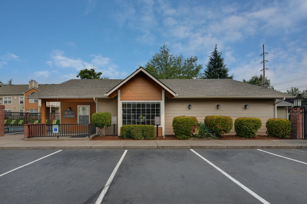 The leasing office at Carriage Park Apartments in Vancouver, Washington