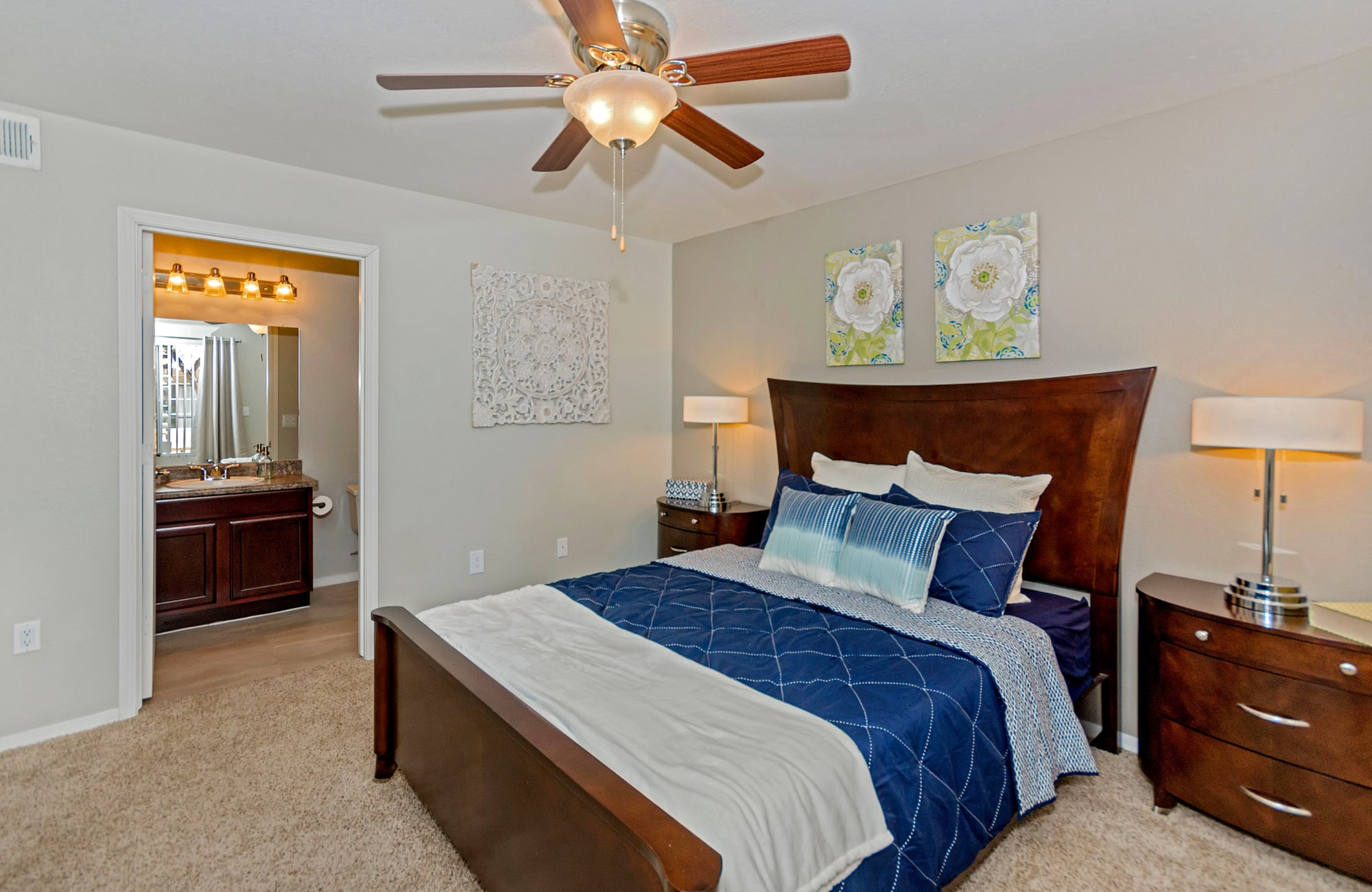 Spacious master bedroom in model home at The Boulevard in Phoenix, Arizona