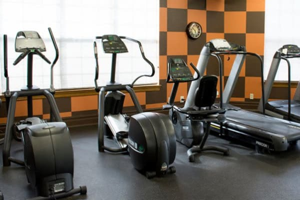 Fully-equipped fitness center at Stonehaven Villas in Tulsa, Oklahoma