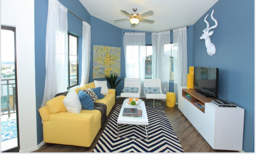 Enjoy a cozy living room at Elevation Apartments in Flagstaff