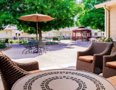 Beautiful garden furniture at Pacifica Senior Living Vacaville in Vacaville, California