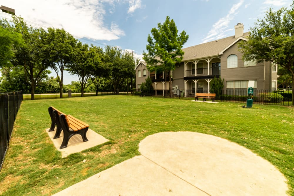 Enclosed dog park area at Marquis at Lantana in Flower Mound, Texas