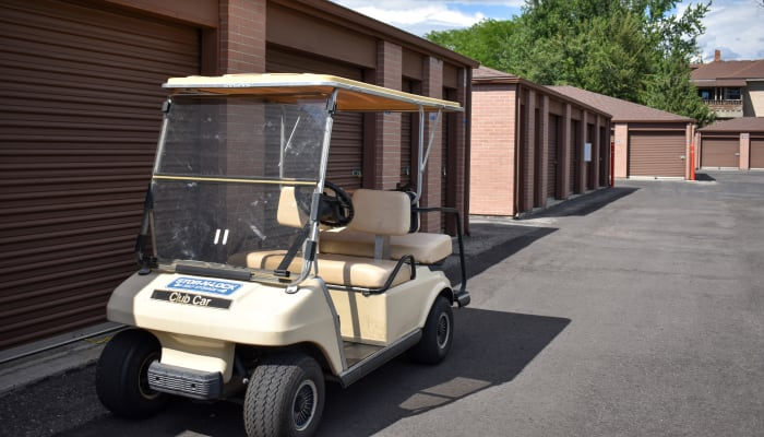 A golf cart in front of exterior storage units at STOR-N-LOCK Self Storage in Boise, Idaho