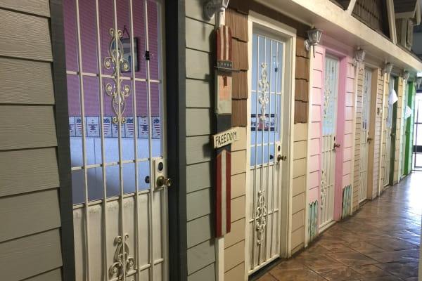 Dog kennel doors at University Pet Resort in Merced, California