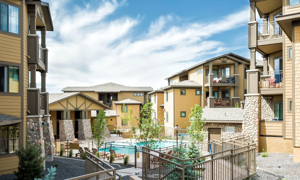 Sparkling swimming pool at Elevation Apartments