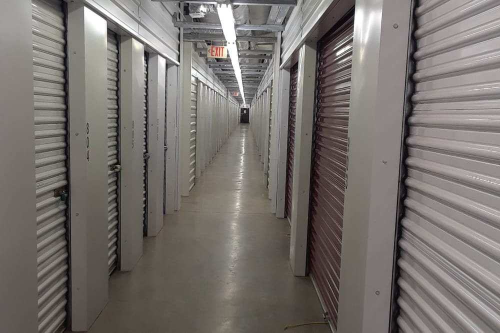Hallway of storage units at Monster Self Storage in Westminster, South Carolina