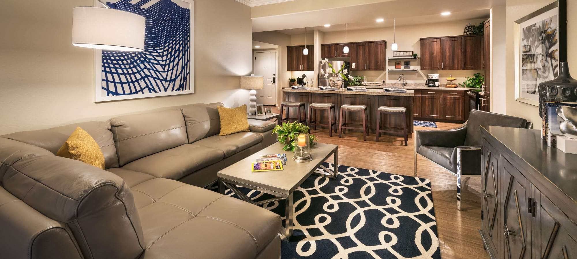 Model living room and kitchen at San Sonoma in Tempe, Arizona