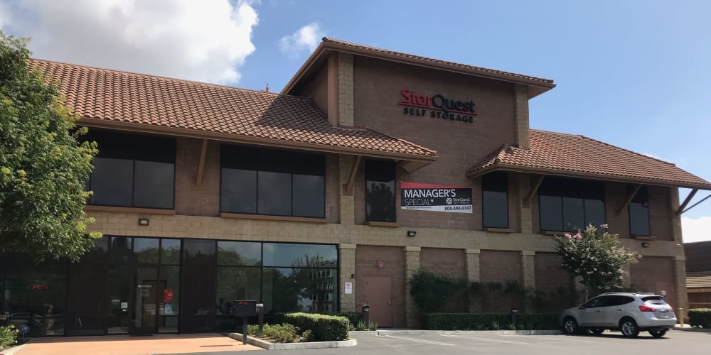 The exterior and parking lot of StorQuest Self Storage in Thousand Oaks, California