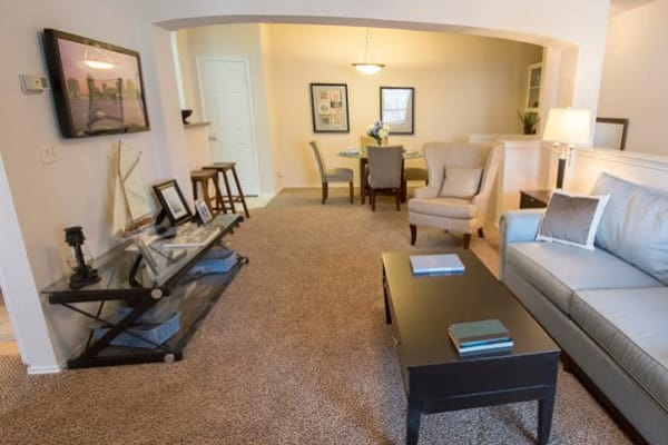 Living room at Stonehaven Villas in Tulsa, Oklahoma