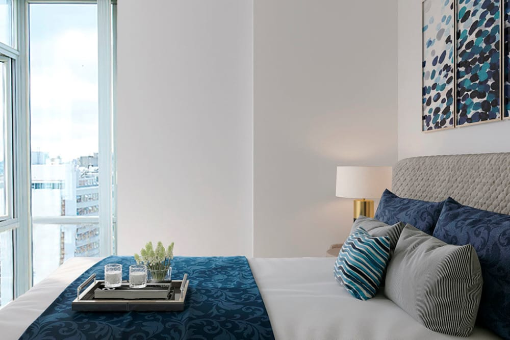 Enjoy apartments with a modern bedroom at Bayview at Coal Harbour