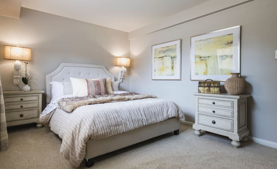 Master bedroom in model home at Westgate Apartments & Townhomes in Manassas, Virginia