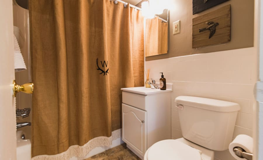 A relaxing bathroom in model home at Westgate Apartments & Townhomes in Manassas, Virginia