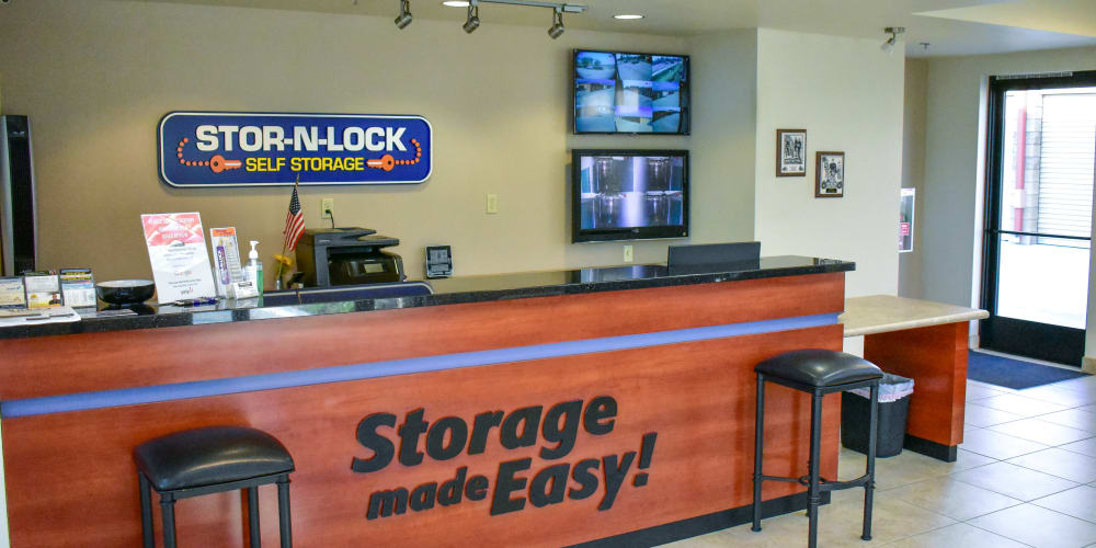 Inside the office at STOR-N-LOCK Self Storage in Redlands, California