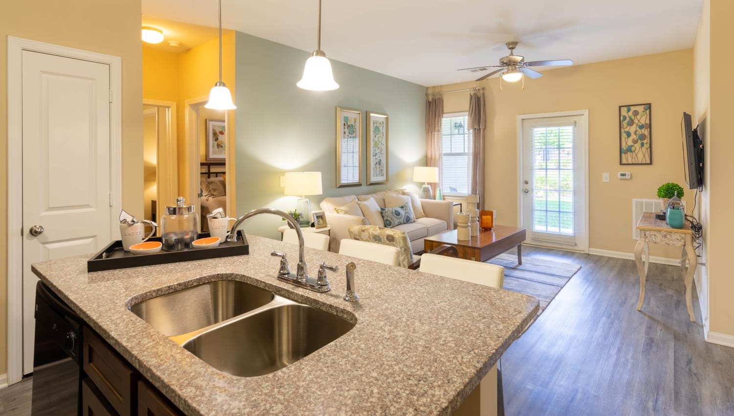 Dual-basin sink in a model home's kitchen at Legends at White Oak in Ooltewah, Tennessee