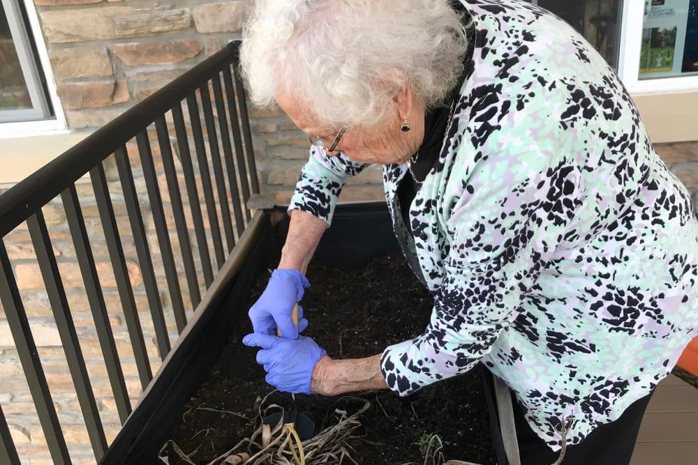 Resident gardening at Edencrest at Riverwoods in Des Moines, Iowa