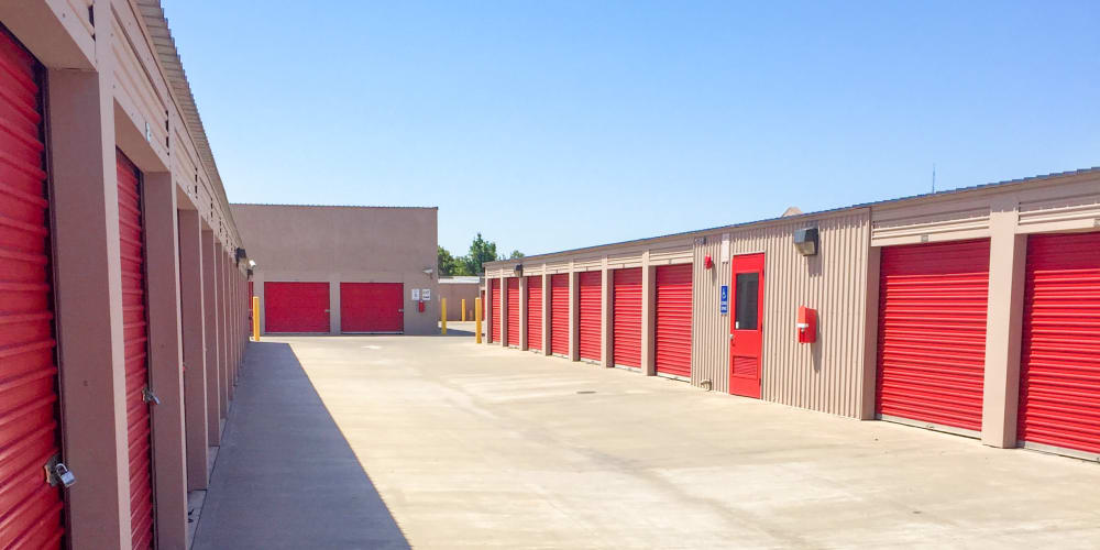 Outdoor units with colored doors at StorQuest Self Storage in Dallas, Texas