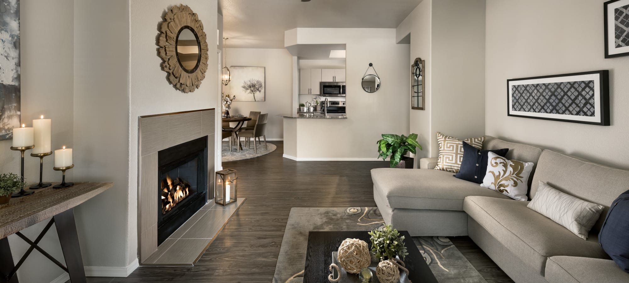 Spacious living room in model home at Bellagio in Scottsdale, Arizona