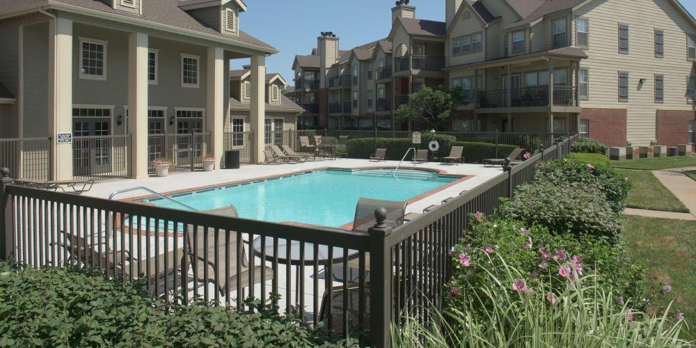 A gated community pool at Newport Wichita in Wichita, Kansas